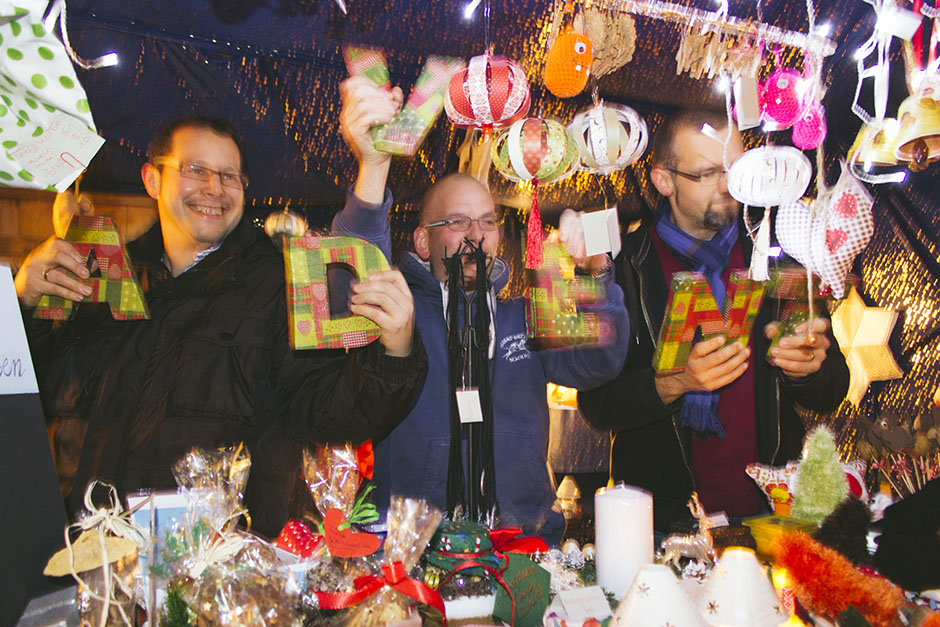 crazy men in the festive spirit at the essen werden markets.