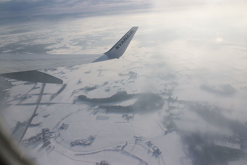snow covered germany beneath us.