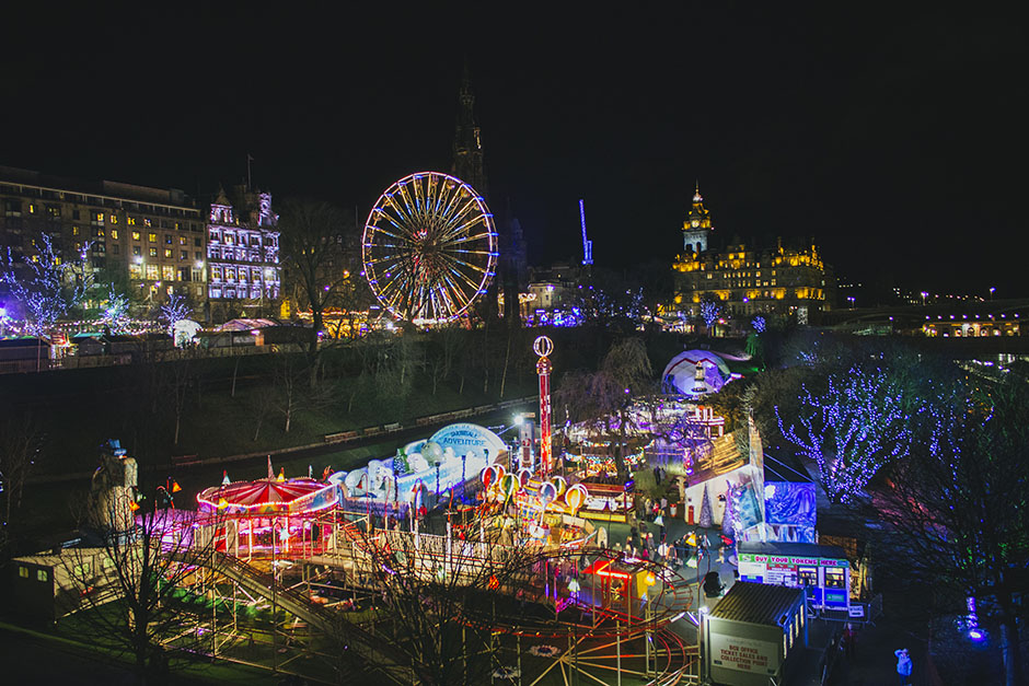 edinburgh at night - rides and markets still up from christmas and Hogmanay.
