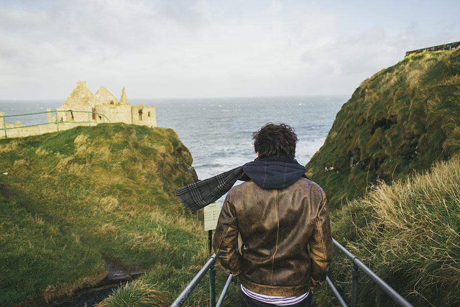 Gregoire heading down towards Dunluce Castle.