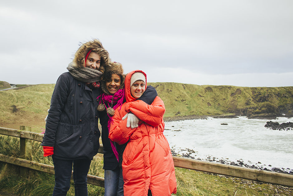 alia, camille + sheila on the track down to giant's causeway.