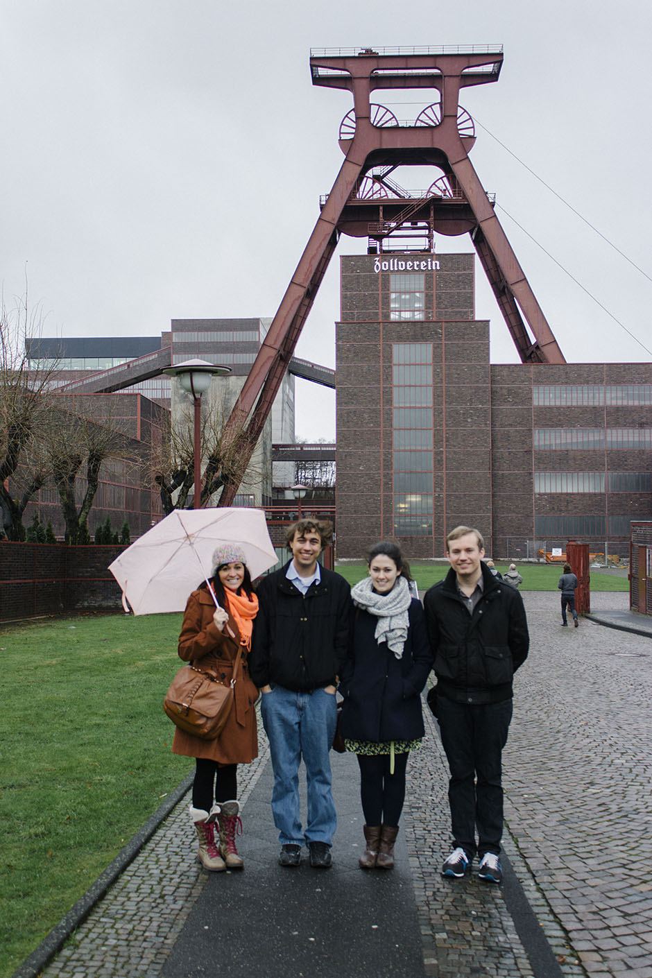 kaleigh, nick, aoife + cameron outside the zeche zollverein.