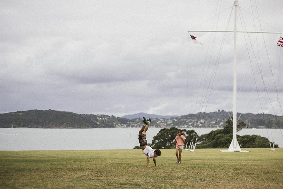 the big lawn + flagpole at Waitangi.