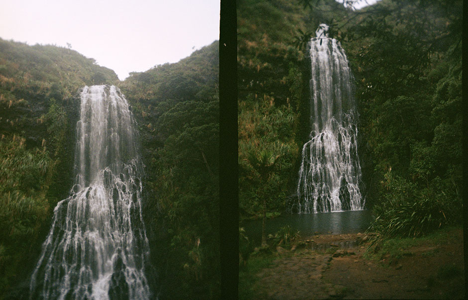 the falls... clear blue water, the smell of damp, native trees.
