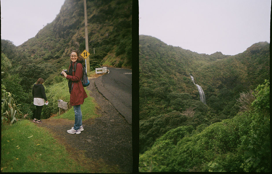 samira to the left + the view of the falls to the right.