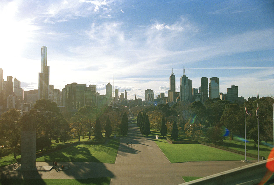 view of Melbourne from the  Shrine of Remembrance.